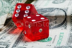 Red Gambling dice on Investing money